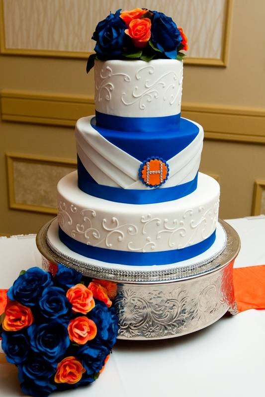 Royal Blue and Orange Wedding Cake